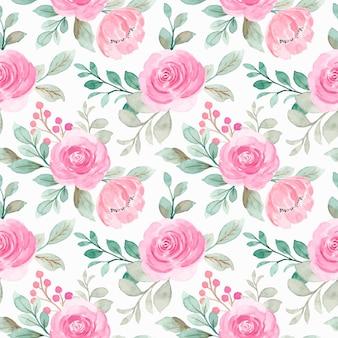 ピンクの水彩花柄のシームレスなパターン