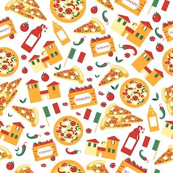 Бесшовный фон из кусочков пиццы с ингредиентами