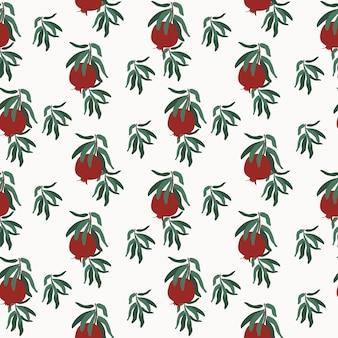 잎이 있는 나뭇가지에 석류 열매의 원활한 패턴
