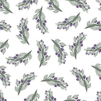 배경 및 패브릭 디자인을 위한 보라색 꽃 봉오리와 옅은 녹색 잎의 원활한 패턴