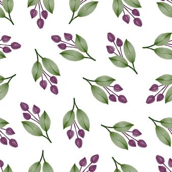 패브릭 디자인을 위한 보라색 꽃 봉오리의 원활한 패턴 프리미엄 벡터
