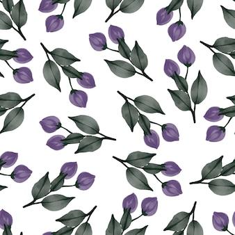 섬유 디자인을 위한 보라색 꽃 봉오리의 원활한 패턴
