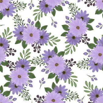 生地と背景のデザインのための紫色のデイジーブーケのシームレスなパターン