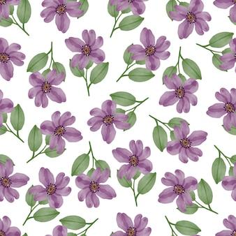 패브릭 디자인을 위한 보라색 꽃의 원활한 패턴