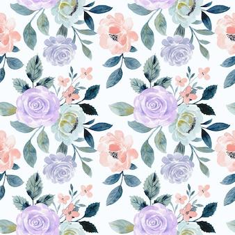 水彩と紫色のバラの花のシームレスなパターン