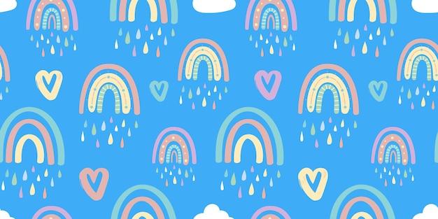 Бесшовный фон из радуги и сердец. векторная иллюстрация