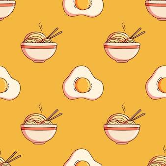 ラーメンまたは麺と目玉焼きのシームレスなパターンと落書きスタイル