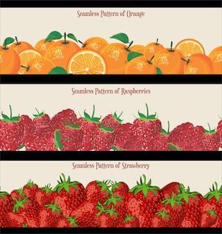 Бесшовные шаблон малины клубника и апельсины коллекции