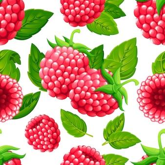 ラズベリーのシームレスなパターン。緑の葉とラズベリーのイラスト。装飾的なポスター、エンブレム天然物、ファーマーズマーケットのイラスト