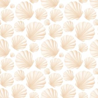 Бесшовный фон из реалистичных двустворчатых жемчужных раковин. мультфильм