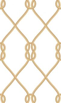 白で隔離される現実的な航海ロープノットのシームレスなパターン。印刷または繊維製品、包装紙のテクスチャ。