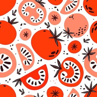 빨간색과 분홍색 토마토의 완벽 한 패턴입니다. 슬라이스, 반, 전체 토마토