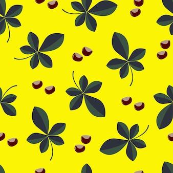 밝은 가을 색 배경에 녹색과 노란색 잎이 있는 붉은 열매의 매끄러운 패턴