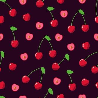 赤いサクランボのシームレスなパターン、熟したベリーのベクトルイラスト、壁紙。