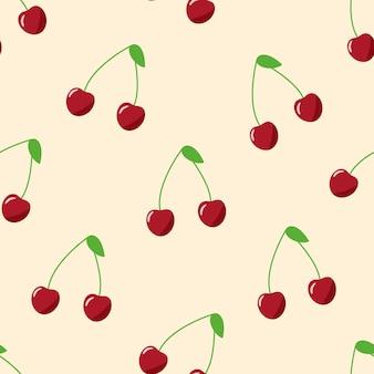 赤いサクランボのシームレスなパターン、熟したベリーのベクトル図