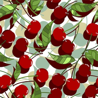 Seamless Pattern of red cherry with leaves, Fruit berry pattern