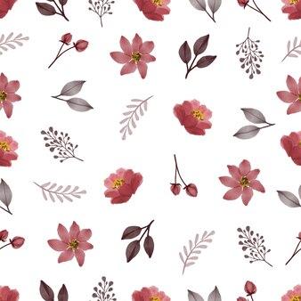 生地と背景のデザインのための赤い要素の花のつぼみの葉と枝のシームレスなパターン