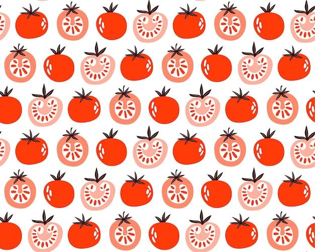 빨간 토마토의 완벽 한 패턴입니다. 슬라이스, 반, 전체 토마토