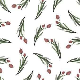 生地と背景のデザインのための赤いチューリップのシームレスなパターン