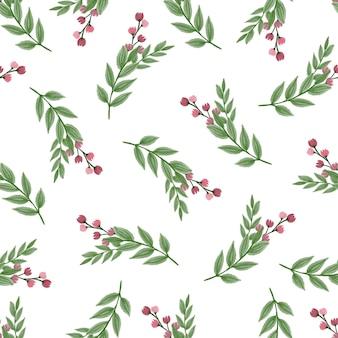 직물 및 배경 디자인을 위한 붉은 야생 꽃의 원활한 패턴