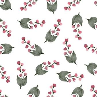 배경 및 패브릭 디자인을 위한 붉은 야생화의 원활한 패턴