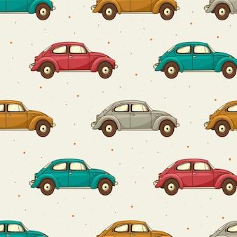 다른 색상의 복고풍 자동차의 완벽 한 패턴입니다.