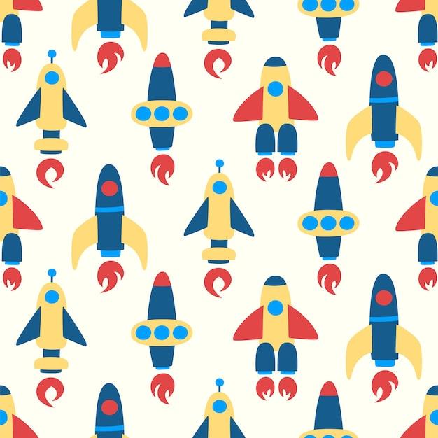 ベージュの背景にロケットのシームレスなパターン。カラフルな宇宙船と宇宙のパターン。