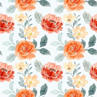 バラの花の水彩画のシームレスなパターン