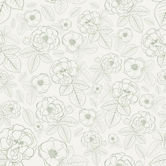 白地に緑の葉とバラのシームレスなパターン