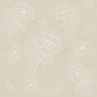 薄茶色の葉とバラのシームレスなパターン