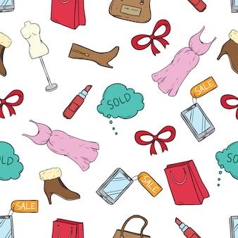 Бесшовные шаблон времени продажи значки с цветной рисованной или эскиз стиль