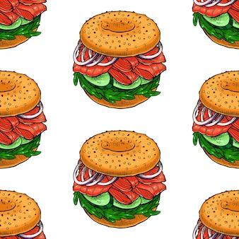 Бесшовный фон из бутербродов. рисованная иллюстрация