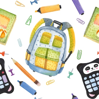 Seamless pattern of school accessories painted in watercolor