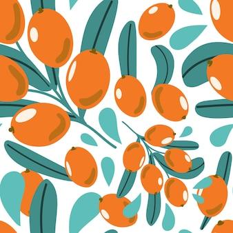 ベリーと葉とシーバックソーンの枝のシームレスなパターン手描きフラットイラスト
