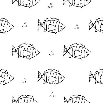 바다 물고기 세라 테트라의 완벽 한 패턴입니다. 귀여운 열대어 패턴-색칠용 그림입니다. 디자인 서식 파일에 대해 서로 다른 방향으로 수영하는 검은색 스케치 물고기 테르네치의 벡터 패턴입니다.