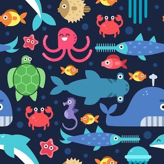 海の水中生物のシームレスなパターン。漫画フラットイラスト