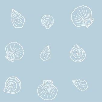 パステルブルーの背景に貝殻のシームレスなパターン。