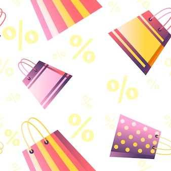 백분율 기호가 있는 흰색 배경에 판매 태그 % 평면 벡터 일러스트가 있는 쇼핑 종이 가방의 원활한 패턴입니다.