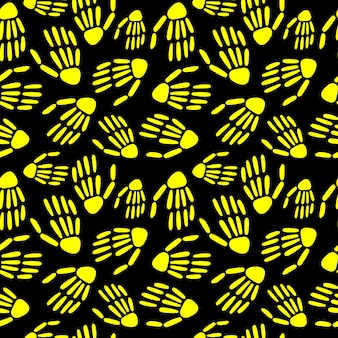 スケルトンの手のシームレスなパターン。ハロウィーンと死者の日のデザイン。ベクトルイラスト