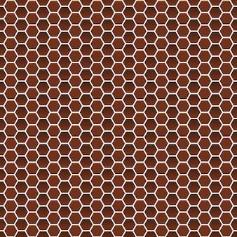 갈색 색상의 작은 육각형의 원활한 패턴 프리미엄 벡터