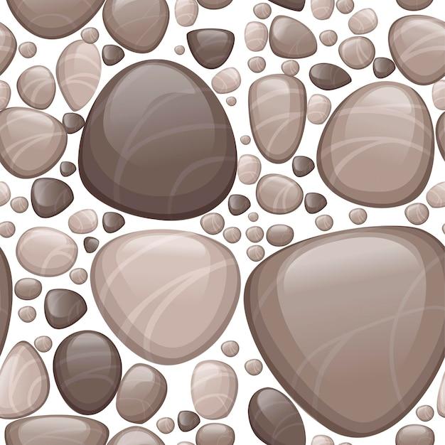 白い背景の上の滑らかな石や小石フラットベクトルイラストのシームレスなパターン。