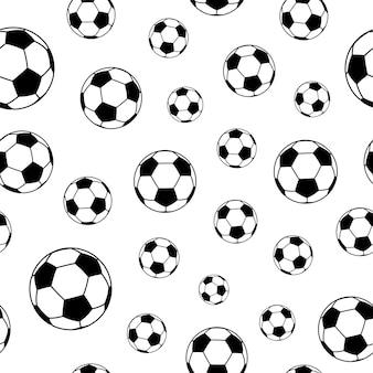 Бесшовный фон из футбольных мячей, черный на белом