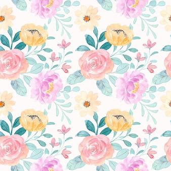 水彩と柔らかい花のシームレスなパターン
