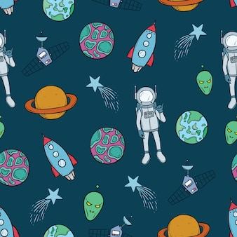 Seamless pattern of space objects