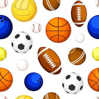 白い背景のwebサイトのページとモバイルアプリのスポーツボール野球バスケットボールテニスバレーボールラグビーサッカーボウリングイラストのシームレスパターン