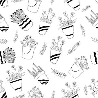 手描きまたはスケッチスタイルで鍋に春の花のシームレスパターン