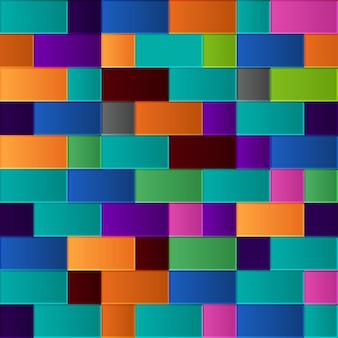 正方形と長方形の色とりどりのグラデーション タイルのシームレス パターン