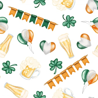 聖パトリックの日の要素(ビール、アイルランドの色、シャムロック)のシームレスパターン Premiumベクター