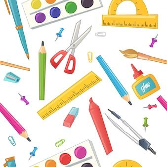 Бесшовный фон канцелярских товаров для школы, офиса и ручной работы в мультяшном стиле. товары для детского творчества