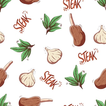 스테이크와 마늘 낙서 스타일의 완벽 한 패턴